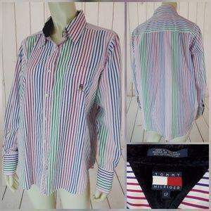Tommy Hilfiger Blouse 12 Striped Cotton ButtonDown